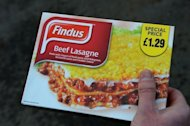 A man poses holding a Findus beef lasagne frozen ready meal near Sunderland on February 8, 2013.The Europe-wide scandal over horsemeat sold as beef spread Sunday as six French retailers pulled products from their shelves and France promised to have the results of an urgent inquiry within days