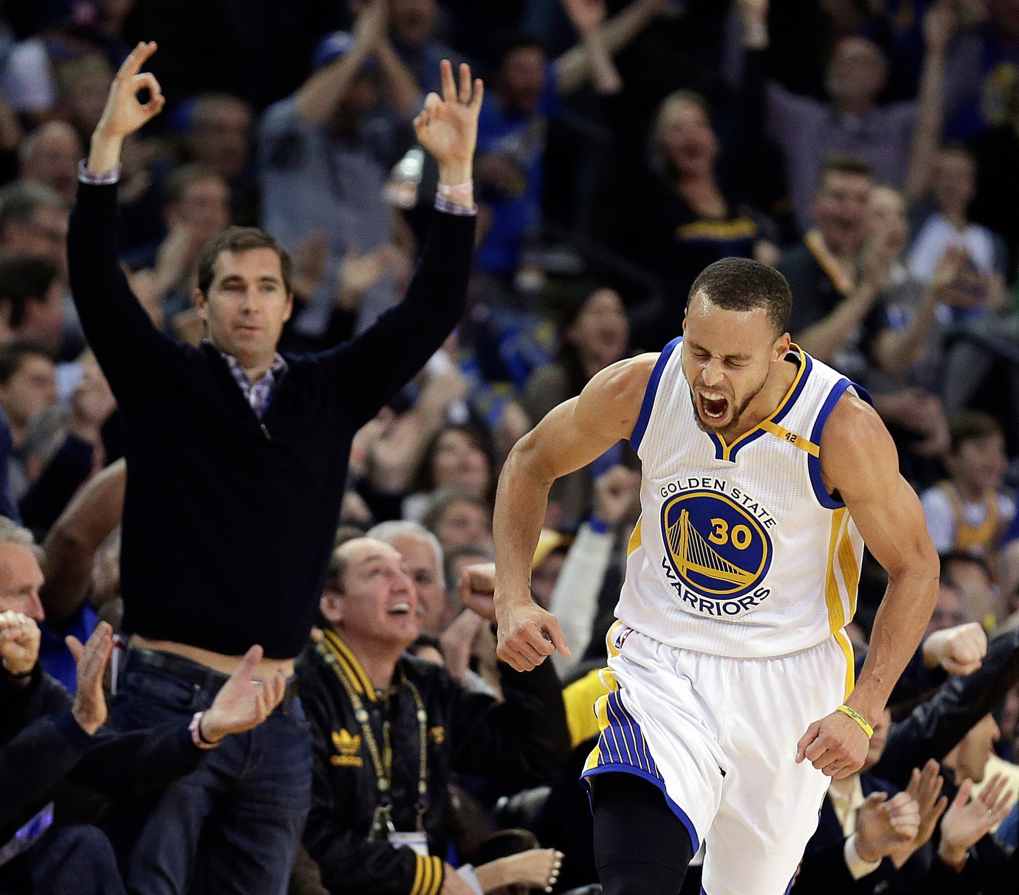 Stephen Curry and the Warriors were fired up and firing on all cylinders against the Cavaliers on Monday. (AP)