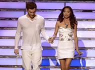 """American Idol"" Finalists Phillip Phillips and Jessica Sanchez walk onstage during the 2012 results show at the Nokia Theatre in Los Angeles on May 23. President Benigno Aquino led the heartbroken Philippines in heaping praise Thursday on Sanchez, who is of Filipino-Latino heritage, following her loss in the final of the US talent show"