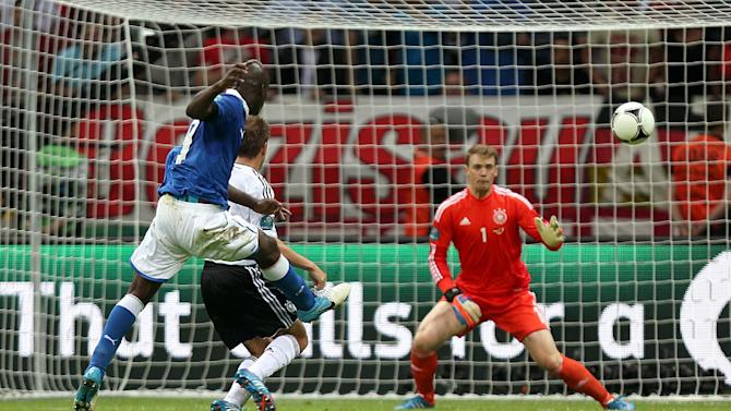 Mario Balotelli scores his second goal against Germany