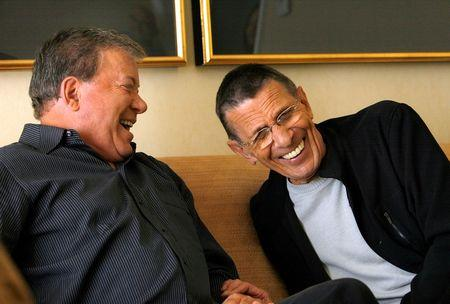 Shatner and Nimoy laugh during interview for 40th anniversary of 'Star Trek' in Los Angeles