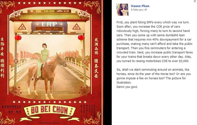 A Vaune Phan complained about the rising cost of transportation in Singapore on Facebook. (Online screengrab)