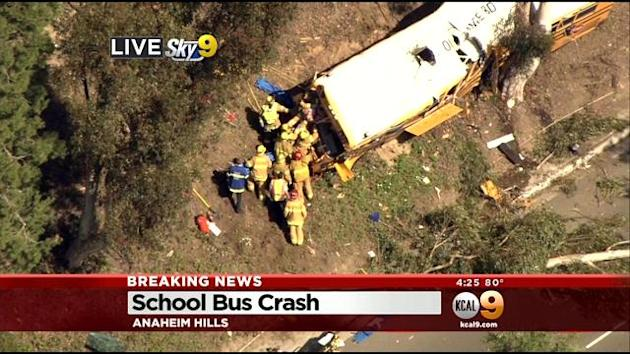 School Bus Filled With Children Crashes Into Tree At Anaheim Golf Course