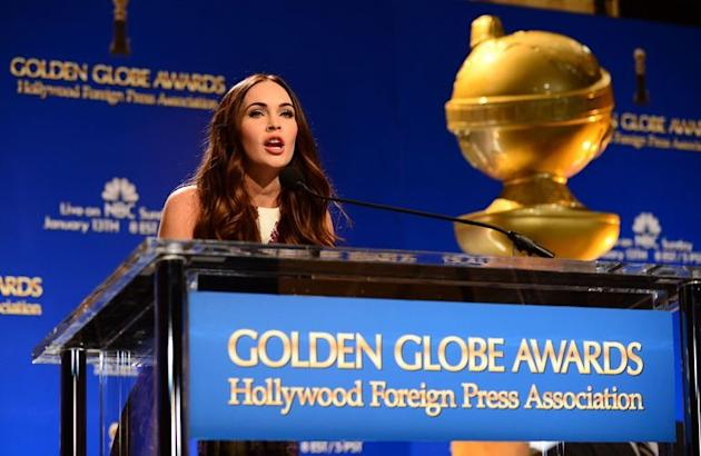 """Megan Fox announces nominations for the 70th annual Golden Globes Awards in Beverly Hills on December 13, 2012. Steven Spielberg's presidential drama """"Lincoln"""" topped the nominations with nods in seven categories, followed by """"Argo"""" and """"Django Unchained"""" with five each"""