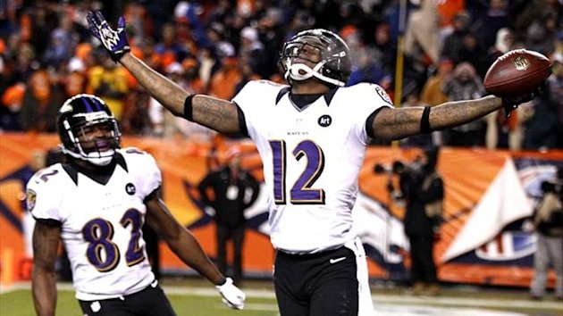 Baltimore Ravens wide receiver Jacoby Jones celebrates against Denver (Reuters)