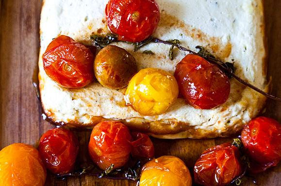 Baked Ricotta with Goat Cheese and Candied Tomatoes