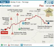 Map of stage 15 of the 2012 Tour de France, to be held on July 16
