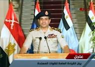 An image grab taken from Egyptian state TV shows Egyptian Defence Minister Abdelfatah al-Sisi delivering a statement on July 3, 2013. Sisi ousted president Mohamed Morsi on Wednesday and declared the head of the Supreme Constitutional Court caretaker leader