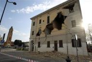The Town Hall building on Sant' Agostino near Ferrara is seen damaged after an earthquake
