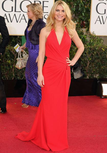 Claire Danes: Can you believe that the 'Homeland' star only gave birth a month ago? We're all jealous! Not only does she look fantastic in a sexy, red Versace, she's also nominated for a Golden Globe. This dress could have been blah but the diagonal cut at the waist gives it some oomph. (Photo by Steve Granitz/WireImage)