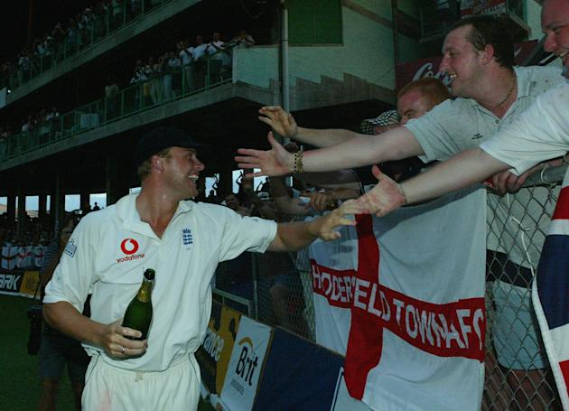 BRIDGETOWN, BARBADOS - APRIL 3:  Andrew Flintoff of England celebrates with fans after England won the third Cable and Wireless Test Match between West Indies and England at the Kensington Oval April