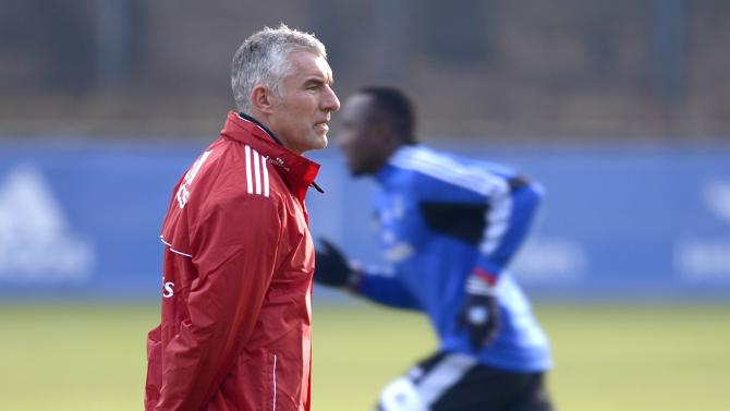 Hamburg SV's new coach Mirko Slomka is pictured during his first practice in Hamburg