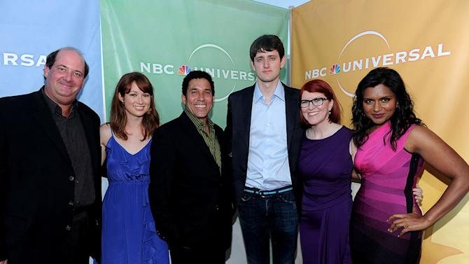 """""""The Office's"""" Brian Baumgartner, Ellie Kemper, Oscar Nunez, Zach Woods, Kate Flannery, and Mindy Kaling arrive at NBC Universal's 2010 TCA Summer Party on July 30, 2010 in Beverly Hills, California."""