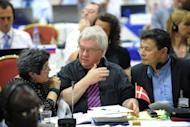 Denmark Commissioners talk during the 64th Annual meeting of the International Whaling Commission in Panama City. Denmark lost a bid to extend whaling by Greenland's indigenous people beyond this year, with EU nations sharing concerns that tourists were being served a glut of whale meat