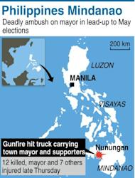 Graphic showing Nunungan in the Philippines' southern island of Mindanao, where 12 people were killed and eight others were wounded including the town mayor in an ambush on Thursday