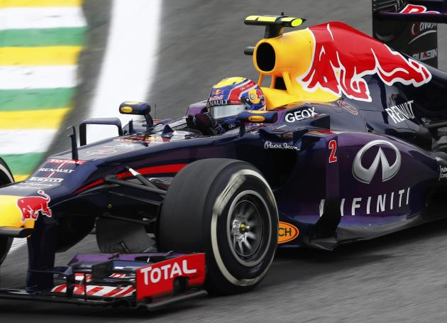 Mark Webber of Australia drives during the Brazilian F1 Grand Prix at the Interlagos circuit in Sao Paulo