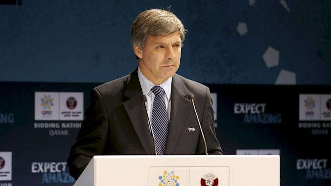 File photo of Chief FIFA inspector Harold Mayne-Nicholls speaking during a news conference for the FIFA Inspection Visit for the Qatar 2022 World Cup Bid in Doha