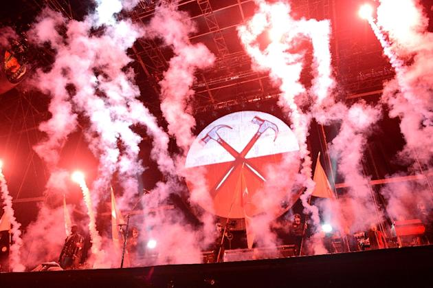 """Pink Floyd performs """"The Wall"""" at Yankee Stadium on July 6, 2012 in New York City"""