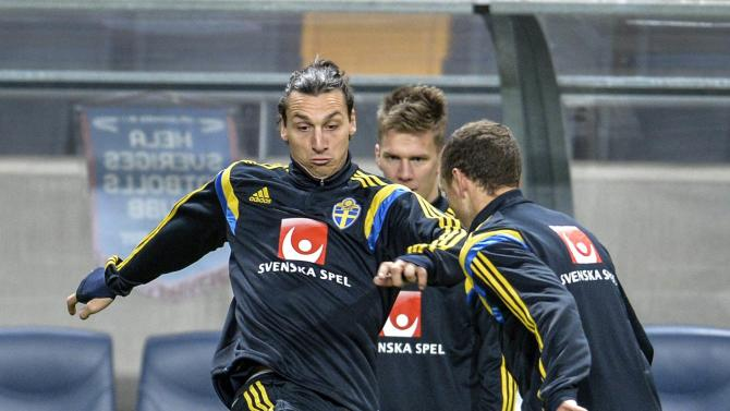 Sweden's Ibrahimovic kicks the ball during a soccer training session in Stockholm