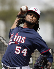 Ervin Santana signed with the Twins as a free agent and immediately left the rotation in a bind. (AP)