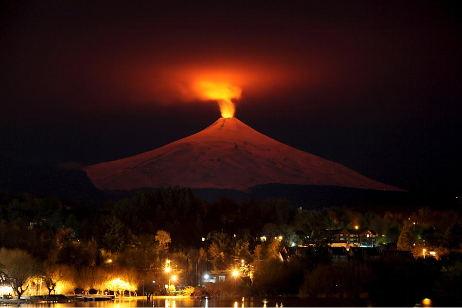The Villarrica Volcano is seen at night from Pucon town