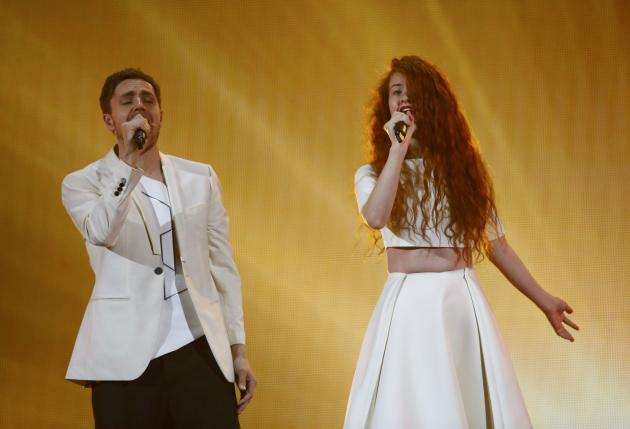 """Singers Morland and Debrah Scarlett representing Norway perform the song """"A Monster Like Me"""""""