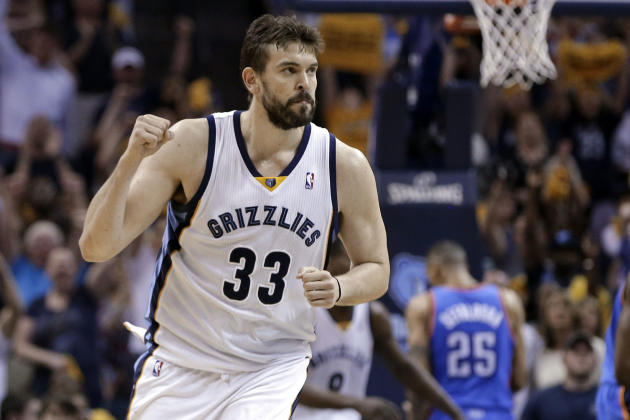 FILE - In this April 24, 2014, file photo, Memphis Grizzlies center Marc Gasol celebrates after scoring against the Oklahoma City Thunder in overtime of Game 3 of an opening-round NBA basketball playo