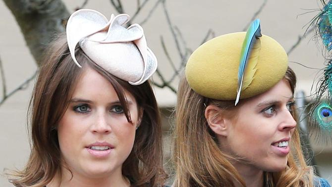 Princess's Eugenie and Beatrice leave the Easter Day service at St George's Chapel in London