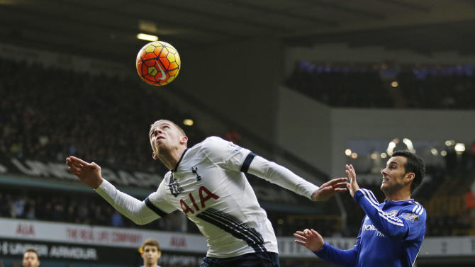 Chelsea's Pedro in action with Tottenham's Toby Alderweireld