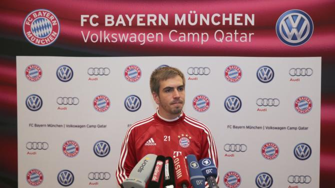 Bayern Munich's Philipp Lahm attends a news conference in Doha