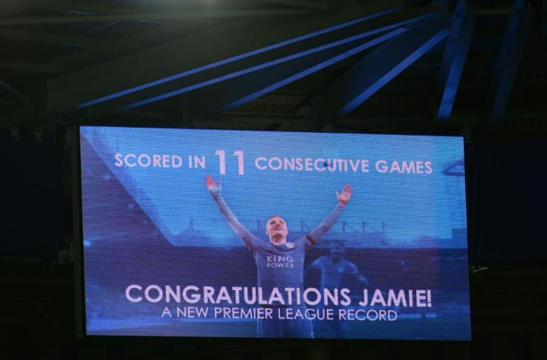 A screen at King Power stadium shows Jamie Vardy after the English Premier League football match between Leicester City and Manchester United at the King Power Stadium in Leicester, central England on