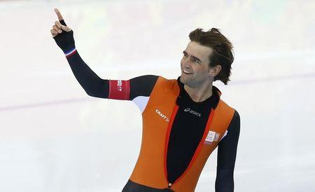 Mark Tuitert of the Netherlands reacts after the men's 1,500 metres speed skating race in the Adler Arena at the Sochi 2014 Winter Olympic Games