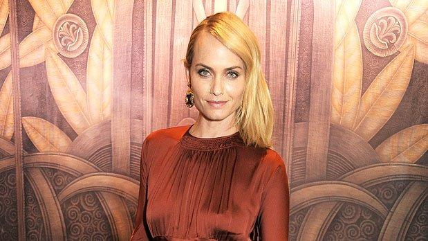 """Model/actress Amber Valletta (""""Revenge"""") opted to wear a '70s-inspired Stella McCartney gown to Tuesday evening's British Fashion Awards. Some of you may find her rust-colored dress a bit drab, but we -- on the other hand -- think she looked exceptional, thanks in part to her side-swept tresses and Louis Vuitton earrings and matching minaudiere. (11/27/2012)"""
