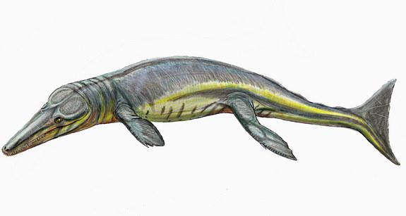 The ancient newfound crocodilian Tyrannoneustes lythrodectikos (shown here in an artist's rendering) would have devoured giant prey some 165 million years ago.