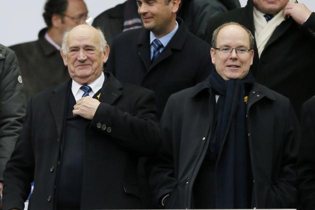 French Rugby Federation President Camou and Prince Albert II of Monaco attend the Six Nations rugby union match between France and Wales at the Stade de France
