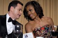 Television host Jimmy Kimmel (L) sits next to First Lady Michelle Obama at the White House Correspondents Association Dinner on April 28. The annual event brings together US President Barack Obama, Hollywood celebrities, media personalities and Washington correspondents
