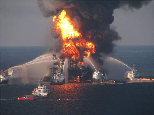 Fire boat response crews battle the blazing remnants of the off shore oil rig, Deepwater Horizon on April 21, 2010. The rig, located 51 miles southeast of Venice, Louisiana, exploded on April 20, 2010.