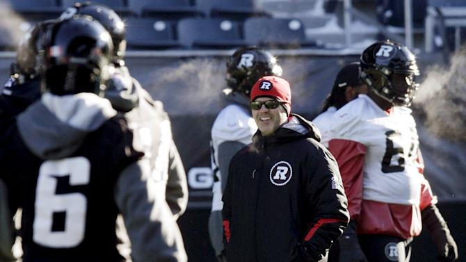 Ottawa Redblacks' head coach Rick Campbell runs practice ahead of the CFL 103rd Grey Cup championship football game in Winnipeg