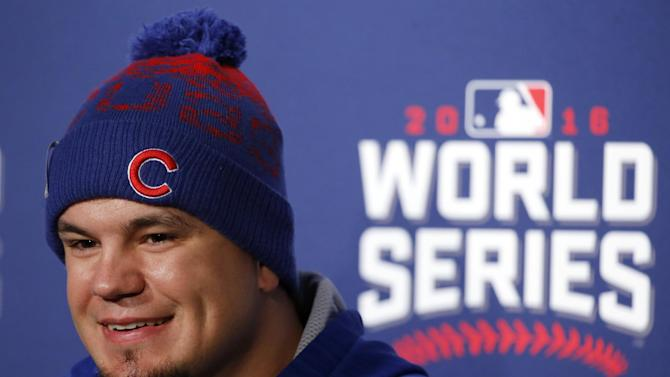 Chicago Cubs' Kyle Schwarber smiles as he answers a question during a news conference for Game 3 of the Major League Baseball World Series against the Cleveland Indians, Thursday, Oct. 27, 2016, in Chicago. (AP Photo/Charles Rex Arbogast)