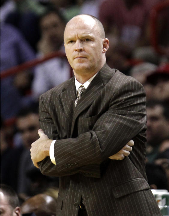 FILE - In this Wednesday, Nov. 21, 2012 file photo, Milwaukee Bucks head coach Scott Skiles watches the final minutes of the first half of an NBA basketball game against the Miami Heat in Miami. The O