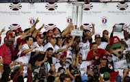 Mexico players raise the trophy as champions of Caribbean Series baseball tournament in Porlamar, Venezuela, Saturday, Feb. 8, 2014. Mexico defeated Puerto Rico 7-1 in the final (AP Photo/Fernando Llano)
