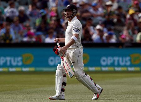 New Zealand's captain Brendon McCullum walks off the ground after being dismissed for four runs during the first day of the third cricket test match against Australia at the Adelaide Oval, in Sout