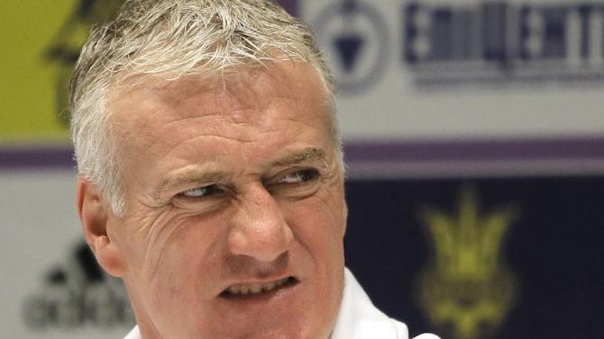 France's soccer coach Didier Deschamps speaks during a press conference at the Olympiyskiy national stadium in Kiev, Ukraine, Thursday, Nov. 14, 2013, ahead of their 2014 World Cup qualifying playoff 2soccer match against Ukraine
