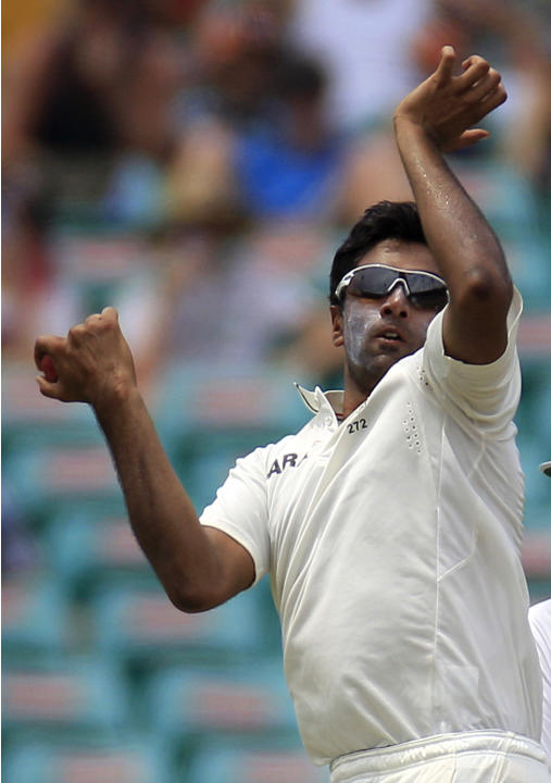 India's Ravichandran Ashwin bowls to Australia's batsmen on the second day in their cricket test match at the Sydney Cricket Ground in Sydney, Wednesday, Jan. 4, 2012. India made 191 in their