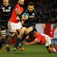 Greig Laidlaw, centre, kicked five penalties for Scotland
