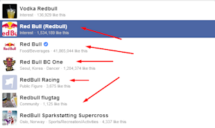 11 Ways To Humanize Facebook Brand Pages image multiple redbull pages