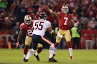San Francisco 49ers' Colin Kaepernick throws a pass during their game against the Chicago Bears. Kaepernick made his first career start count by throwing a pair of touchdown passes as the 49ers routed the Bears 32-7