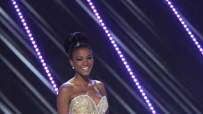 Miss Angola Leila Lopes competes in the Miss Universe pageant in Sao Paulo, Brazil, Monday, Sept. 12, 2011. Lopes was crowned Miss Universe 2011. (AP Photo/Andre Penner)