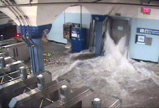 CCTV photo shows flood waters rushing in to the Hoboken PATH station in New Jersey