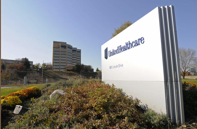 FILE - This Tuesday, Oct. 16, 2012, file photo, shows a portion of The UnitedHealth Group Inc.'s  campus in Minnetonka, Minn. The nation's largest health insurer, UnitedHealth, is staking a bigger